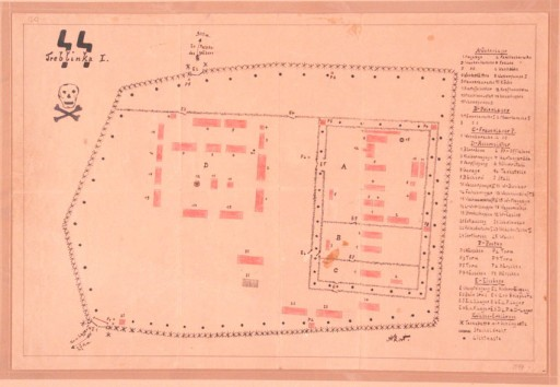 """<p>This map of the <a href=""""/narrative/3819/en"""">Treblinka</a> I forced-labor camp was drawn by Holocaust survivor Manfred Kort in 1946. In 1990 Kort donated the map to the United States Holocaust Memorial Musem. In March 1997, at the request of the Office of Special Investigations, the Museum sent the original drawing to Chicago to be used as evidence at the trial of one Bronislaw Hajda. At the conclusion of Hajda's trial on April 10, 1997, the U.S. Department of Justice announced that """"a federal judge in Chicago has revoked the naturalized US citizenship of an Illinois man who took part in a massacre of Jews while serving as a guard at a Nazi forced-labor camp in German-occupied Poland during World War II and who subsequently concealed his activities from U.S. officials when he applied to immigrate to the United States on May 24, 1950."""" As this document shows, physical <a href=""""/narrative/9979/en"""">evidence of the Holocaust</a> continues to have an impact on legal proceedings today.</p>"""