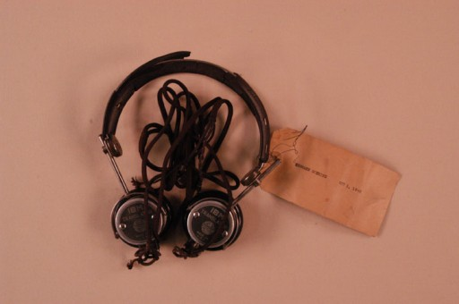 <p>Headphones used by defendant Hermann Goering during the International Military Tribunal. Headphones like these enabled trial participants to hear simultaneous translation of the proceedings.</p>