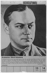 <p>Portrait of Alfred Rosenberg. One of a collection of portraits included in a 1939 calendar of Nazi officials. Germany, 1939.</p>