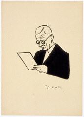 <p>Caricature of Nuremberg International Military Tribunal defendant Alfred Rosenberg, by the German newspaper caricaturist Peis. Nuremberg, Germany, October 1, 1946.</p>