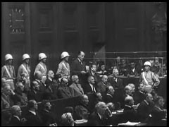 <p>Defendant Albert Speer making his closing statement in the Nuremberg courtroom.</p>