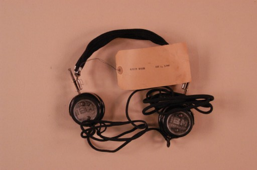 <p>Headphones used by defendant Albert Speer during the International Military Tribunal. Headphones like these enabled trial participants to hear simultaneous translation of the proceedings.</p>