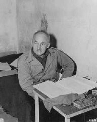 """<p>Defendant Julius Streicher in his prison cell at Nuremberg.</p> <p>For his influential role in inciting hatred and violence, the<a href=""""https://encyclopedia.ushmm.org/narrative/9366/en"""">International Military Tribunal</a>at Nuremberg indicated Streicher on<a href=""""https://encyclopedia.ushmm.org/narrative/9734/en"""">count</a>four, crimes against humanity. Streicher was found guilty and sentenced to death. He was hanged on October 16, 1946.</p>"""