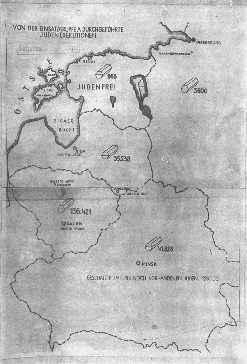 """<p>This map accompanied a secret undated German report on the mass murder of Jews by Einsatzgruppen A (mobile killing unit A). During the International Military Tribunal at Nuremberg, the map was introduced as evidence by both the American and British prosecution teams. The document, entitled """"Jewish Executions Carried Out by Einsatzgruppen A"""" and stamped """"Secret Reich Matter,"""" shows the number of Jews executed (symbolized by coffins) in the Baltic states and Belorussia by late 1941. The legend near the bottom states that """"the estimated number of Jews still on hand [was] 128,000.""""</p>"""