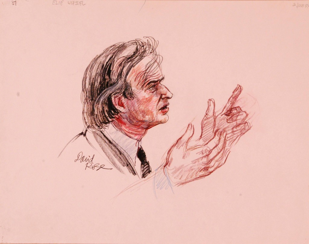 "<p>Courtroom sketch by artist David Rose of Nobel laureate and Holocaust survivor <a href=""/narrative/10130/en"">Elie Wiesel</a> on the witness stand at the trial of Klaus Barbie. During his testimony, Wiesel stated that ""The killer kills twice. First, by killing, and then by trying to wipe out the traces."" June 2, 1987.</p>"