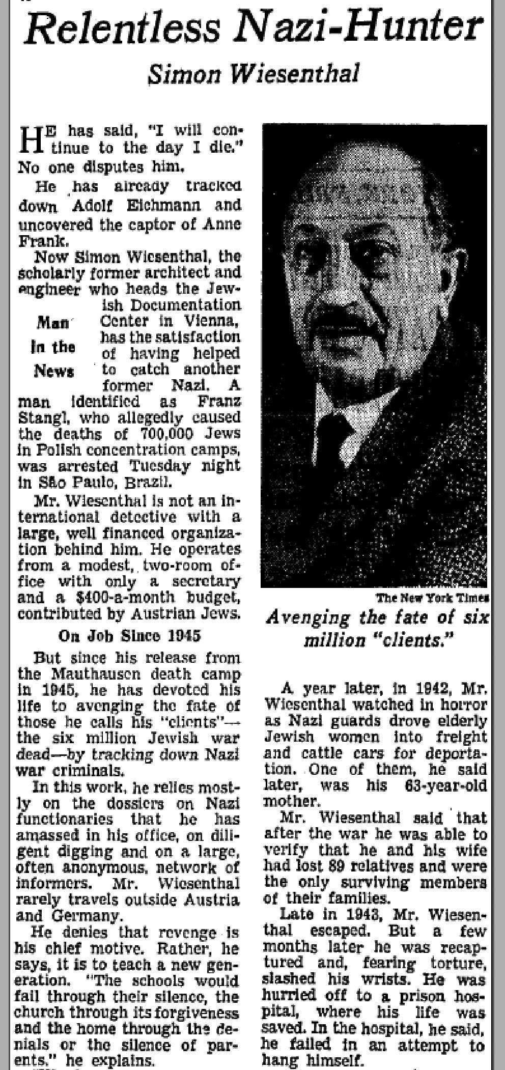 """<p>A March 3, 1967, New York Times article about Simon Wiesenthal entitled, """"Relentless Nazi-Hunter.""""</p>"""