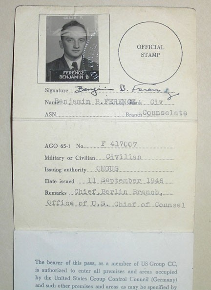 "<p>Pass issued to <a href=""/narrative/10039/en"">Benjamin Ferencz</a>, war crimes investigator and later chief prosecutor in the Einsatzgruppen Trial. This pass granted the bearer free movement within the US-occupied zone of postwar Germany.</p>"