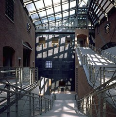 <p>Light cast on architectural details in the Hall of Witness of the United States Holocaust Memorial Museum.</p>