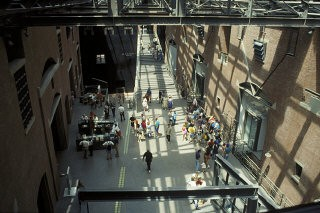 <p>Visitors in the Hall of Witness in the United States Holocaust Memorial Museum. Photograph taken from the Museum's second floor. October 1994.</p>