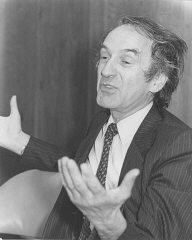 <p>Elie Wiesel speaks at the Faith in Humankind conference, held before the opening of the United States Holocaust Memorial Museum, on September 18–19, 1984, in Washington, DC.</p>