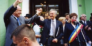 <p>Elie Wiesel with President Ion Iliescu in Sighet following the presentation of the Final Report of the International Commission on the Holocaust in Romania.</p>