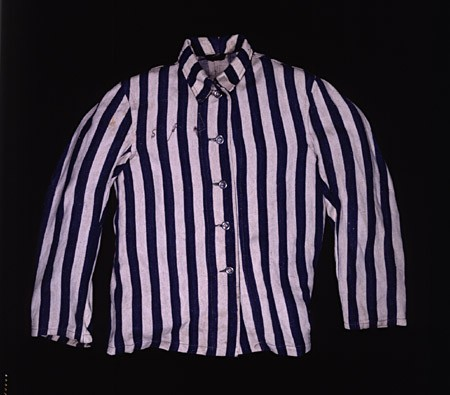 """<p>Abraham Lewent, who had been sent from the <a href=""""/narrative/2014/en"""">Warsaw</a> ghetto to <a href=""""/narrative/3168/en"""">Majdanek</a> and later transferred to several concentration camps in Germany, wore this jacket as part of the uniform issued to him upon his arrival in the Buchenwald concentration camp in 1944.</p>"""