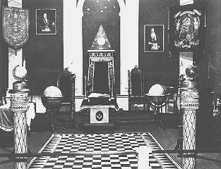 """<p>Photograph of a display entitled """"British Freemasonry."""" It appeared in an anti-Masonic exhibition at a Berlin museum. Germany, March 7, 1941.</p>"""