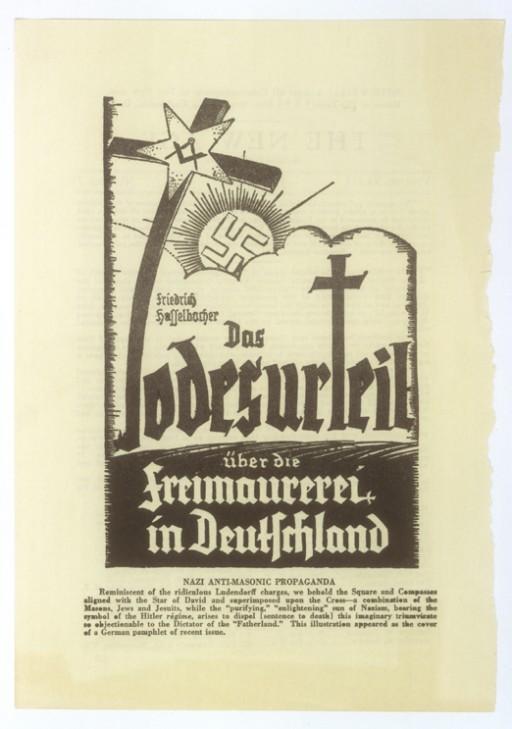 "<p>Illustration from cover of a German anti-Masonic pamphlet by Friedrich Haffelbacher, entitled ""Das Todesurteil ueber die Freimaurerei in Deutschland"" [The Death Sentence for Freemasons in Germany].</p>"