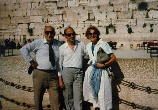 "<p>Aron and Lisa with Tadek Soroka, the Pole who helped them escape, on the occasion of Soroka's recognition as a ""<a href=""/narrative/11778/en"">Righteous among the nations</a>"" by Yad Vashem. Jerusalem, Israel, 1983.</p>"