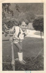 """<p>Three-year-old <a href=""""/narrative/10415/en"""">Thomas Buergenthal</a> during a stay at a hotel in Czechoslovakia, 1937.</p> <p>With the end of World War II and collapse of the Nazi regime, survivors of the Holocaust faced the daunting task of <a href=""""/narrative/10475/en"""">rebuilding their lives</a>. With little in the way of financial resources and few, if any, surviving family members, most eventually emigrated from Europe to start their lives again. Between 1945 and 1952, more than 80,000 Holocaust survivors immigrated to the United States. Thomas was one of them.</p>"""