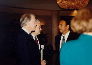 """<p>From left to right: former US President Jimmy Carter, Judge <a href=""""/narrative/10415/en"""">Thomas Buergenthal</a>, former UN ambassador Andrew Young. Judge Buergenthal was the director of the human rights program for the Carter Center from 1986–89.</p>"""