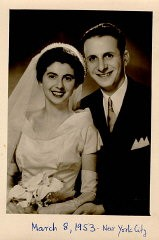 <p>Wedding photo of Regina and Victor. New York City, March 8, 1953.</p>
