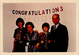 <p>Celebration after one of Regina's sons, Harry, received the Eagle Scout Award. February 16, 1973.</p>