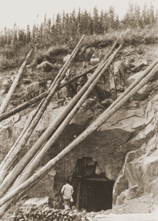 <p>Entrance to a factory built into the side of a hill at the Natzweiler concentration camp. 1945.</p>