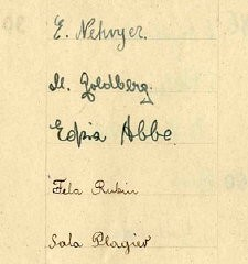 <p>On September 23, 1941, on the occasion of the Jewish New Year (Rosh Hashanah), the Lodz ghetto schoolchildren presented Jewish Council chairman Rumkowski with an album of hand-drawn New Year's greetings from 43 of the schools. Included were signatures representing some 14,000 of the students. The greetings combine traditional holiday wishes with thanks for the schools and for the daily meals.  This detail from a signature page shows the signature for Sara Plagier (# 13049).</p>