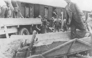 <p>Roma (Gypsies) remove bodies from the Iasi-Calarasi death train during its stop in Tirgu-Frumos. Two trains left Iasi on June 30, 1941, bearing survivors of the pogrom that took place in Iasi on June 28-29. Hundreds of Jews died on the transports aboard crowded, unventilated freight cars in the heat of summer. Romania, July 1, 1941.</p>