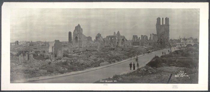 "<p>This 1919 photograph shows <a href=""/narrative/28/en"">World War I</a> destruction in Ypres, Belgium.</p>"