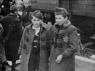 <p>Photograph of Yisrael and Zelig Jacob, the younger brothers of Lili Jacob, from the Auschwitz Album.</p>