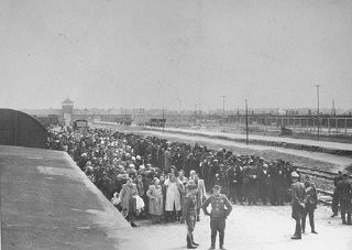 "<p>The ramp in <a href=""/narrative/3673/en"">Auschwitz</a>-Birkenau, May 1944.</p>"