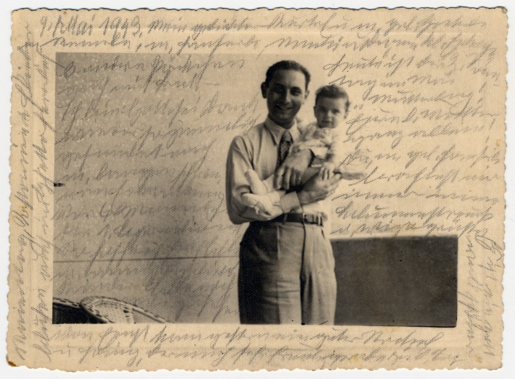"""<p>Photograph showing Kurt, Helene Reik's son, holding his baby Margarida, in Rio de Janeiro in 1940.</p> <p>After her deportation to the <a href=""""/narrative/5386/en"""">Theresienstadt</a> ghetto in Czechoslovakia, Helene yearned to record what was happening to her. This photograph was sent to Helene, who used it as paper for her diary in Theresienstadt. Helene's makeshift diary offers wistful memories of her husband and parents who died before the war, loving thoughts of her family who had left Europe in 1939, and a firsthand account of the illness and hospitalization that ultimately led to her death.</p> <p>Because resources were scarce in the Theresienstadt ghetto, Helene recorded her thoughts, recollections, and diary entries in the margins and on the backs of family pictures that she had brought with her, as well as postcards and letters she received while in the ghetto.</p>"""
