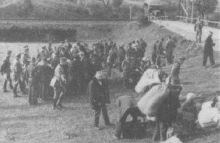 <p>Assembly point for Poles displaced by the German Race and Resettlement Main Office (RuSHA). Sol, Poland, September 24, 1940.</p>