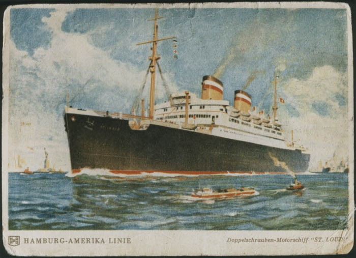 <p>A postcard of the SS <em>St. Louis.</em> May 1939.</p>