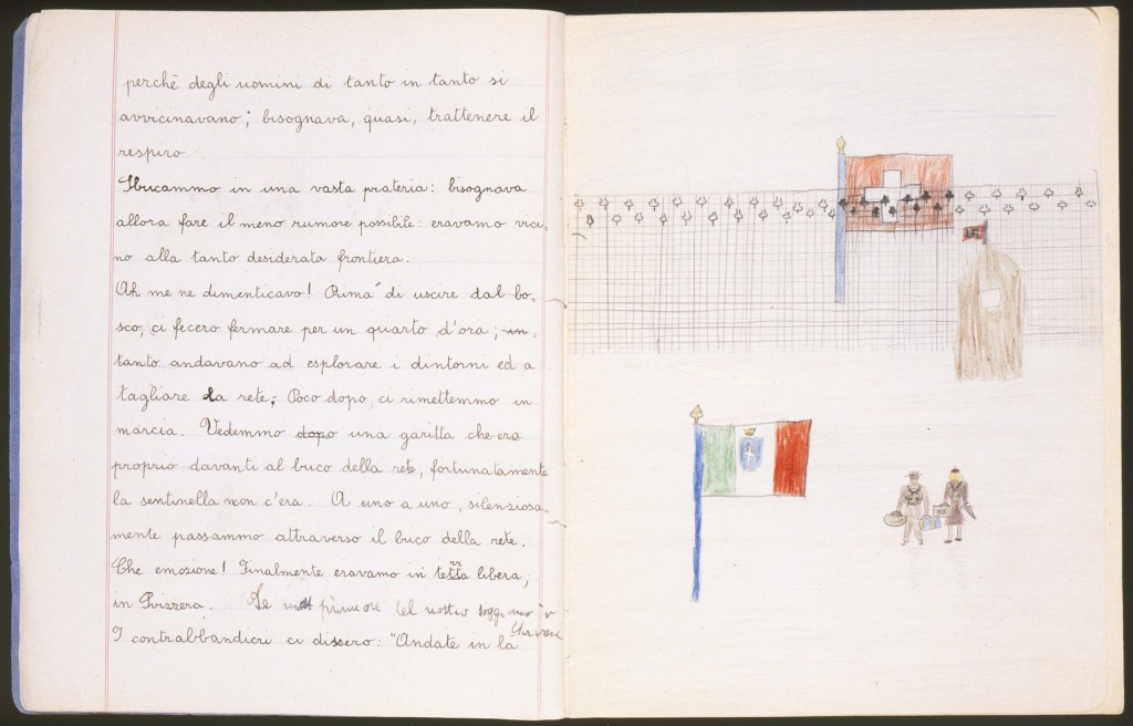 """<p>Illustrated page of a child's diary written in a Swiss refugee camp. The diary entry describes how they crossed the border into Switzerland. The text reads, """"We came out of the woods and into a clearing: we had to be as quiet as possible because we were so close to the border. Oh! I almost forgot! Before we came out of the woods, they made us stand still for a quarter of an hour while they went to explore the area and to cut through the fence. Fortunately, shortly thereafter, we began to walk again. We saw a small guard station that was literally in front of the hole in the fence, fortunately the guard was not there. One by one, silently, we went through the hole in the fence. What emotion! Finally, we were in free territory, in Switzerland."""" Switzerland, 1943-1944.</p>"""