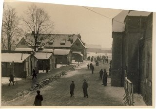 <p>View of a street of the Babenhausen displaced persons camp. Babenhausen, Germany, 1946.</p>