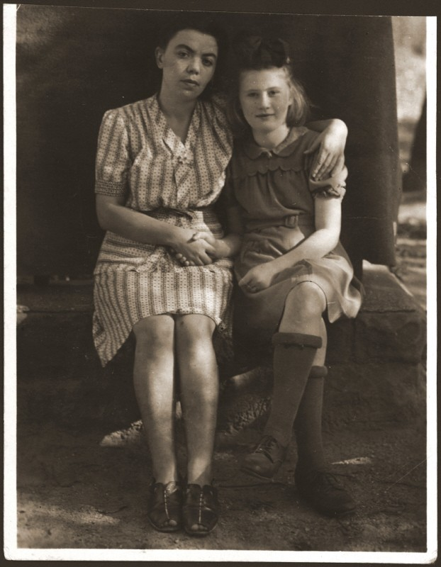 <p>Lena Getter with a friend at the Bensheim displaced persons' camp in Germany. Bensheim, Germany, 1947.</p>