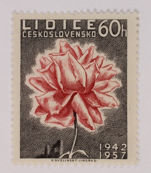 <p>A Czech postage stamp issued in 1957, commemorating the fifteenth anniversary of the destruction of Lidice.</p>