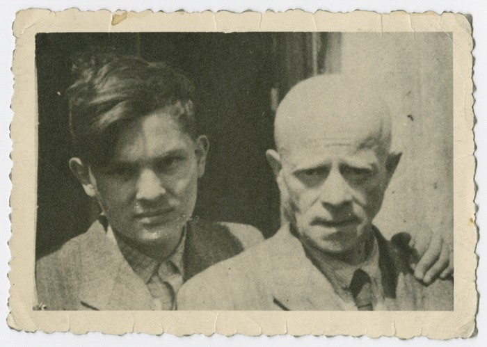 """<p>Close-up portrait of Hebrew and Yiddish author Itzhak Katzenelson in the Vittel internment camp. Because he possessed a Honduran passport, Katzenelson and his son were sent to the <a href=""""/narrative/11807/en"""">Vittel</a> internment camp in France. They remained there for a year, during which time Katzenelson continued to write. In April 1944, however, both were deported to their death in <a href=""""/narrative/3673/en"""">Auschwitz</a>. Vittel, France, 1943-1944.</p>"""