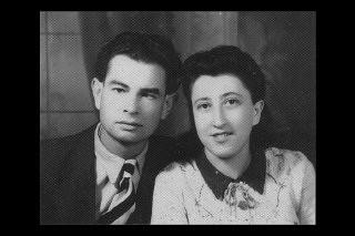 "<p>Postwar wedding portrait of <a href=""/narrative/11842/en"">Gertrude Boyarski</a> and her husband. 1946.</p>"