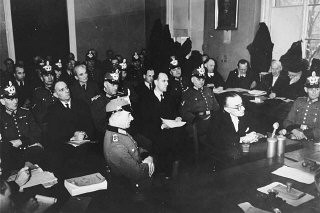 "<p>Participants in the July 1944 plot to assassinate Adolf Hitler and members of the ""Kreisau Circle"" resistance group on trial before the People's Court. Pictured are Dr. Franz Reisert, Dr. Theodor Haubach, Graf von Moltke, Theodor Steltzer, and Dr. Eugen Gerstenmeier.</p>"