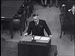 <p>After the trial of major war criminals before the International Military Tribunal in Nuremberg, the United States held a series of other war crimes trials at Nuremberg during the Subsequent Nuremberg Proceedings.The ninth trial of these proceedings, before an American military tribunal, focused on members of the Einsatzgruppen (mobile killing units) who had been assigned to kill Jews and other people behind the eastern front. This footage shows US Supreme Court Justice Robert Jackson, chief prosecutor for the United States in the Nuremberg trials, opening the case by describing the Einsatzgruppen's use of gas vans to kill Jews and others during the German invasion of the Soviet Union.</p>