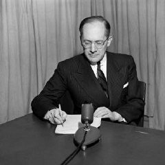 "<p>Raphael Lemkin prepares for a talk on UN radio, probably between 1947 and 1951. Lemkin coined the term ""genocide"" in 1944.</p>"