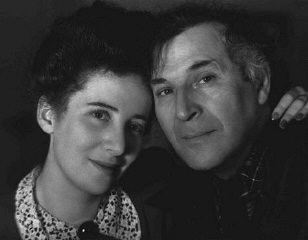 "<p>Russian-born Jewish artist <a href=""/narrative/11584/en"">Marc Chagall</a> with his daughter, Ida. The Nazis declared Chagall's work ""degenerate."" After the fall of <a href=""/narrative/4997/en"">France</a>, where he had been living, Chagall fled to the United States. United States, 1942.</p>"