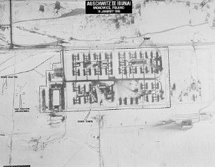 <p>Aerial photograph of the Auschwitz III (Monowitz) camp, which was adjacent to the I.G. Farben plant. The photograph was taken following US bombing missions. Poland, January 14, 1945.</p>