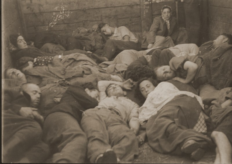 """<p>Jewish refugees, part of the Brihah (the postwar mass flight of Jews from eastern Europe), in a crowded boxcar on the way to a <a href=""""/narrative/6365/en"""">displaced persons camp</a> in the American occupation zone. Germany, 1945 or 1946.</p>"""
