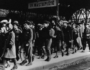"<p>A transport of 200 Jewish children, fleeing postwar antisemitic violence in Poland, arrives at the Prague railroad station. The children are on their way to <a href=""/narrative/6365/en"">displaced persons</a> camps in the American-occupied zone of Germany. Prague, Czechoslovakia, July 15, 1946.</p>"