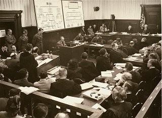 <p>Defendant Karl-Heinrich Pfirsch testifies during the Krupp Trial.</p>