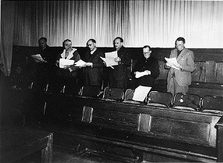 <p>The defendants at the Flick Trial study court documents. From left to right are Bernhard Weiss, Friedrich Flick, Odilo Burkart, Konrad Kaletsch, Otto Steinbrinck, and Hermann Terberger.</p>
