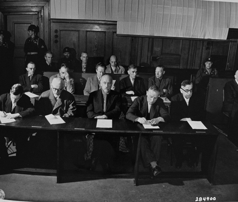 """<p>TheIG Farben defendants hear the indictments against them before the start of the trial, <a href=""""/narrative/9506/en"""">case #6</a> of the Subsequent Nuremberg Proceedings. May 5, 1947.</p>"""
