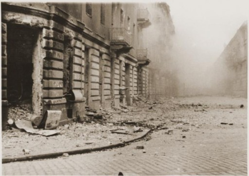 Buildings destroyed by the SS during the suppression of the Warsaw ghetto uprising.