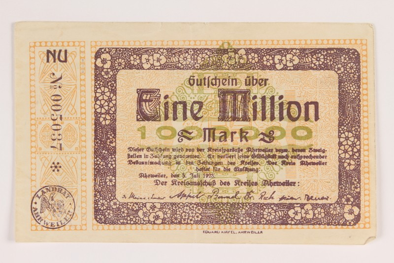 One million mark note issued in Ahrweiler District in Germany as emergency currency during the runaway inflation of the 1920s acquired